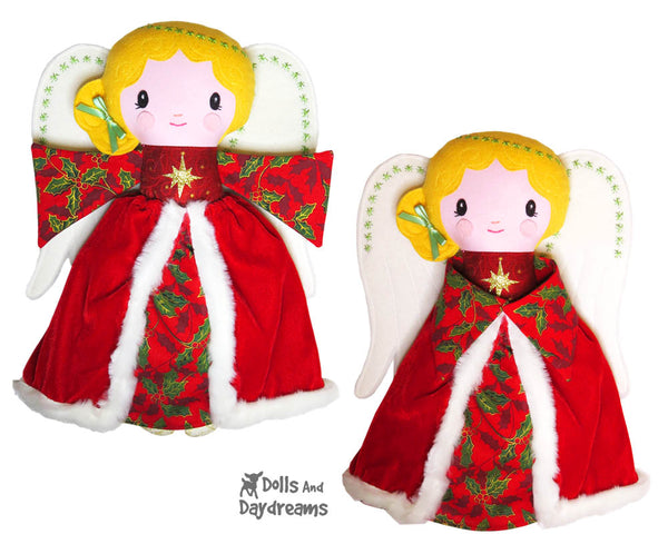 Guardian Angel Christmas tree topper Sewing Pattern cloth doll diy xmas Dolls And Daydreams - 1