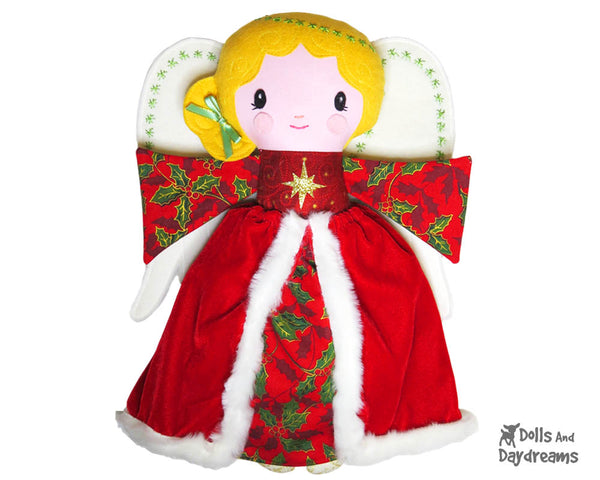 Guardian Angel Christmas tree topper Sewing Pattern fabric doll diy xmas Dolls And Daydreams