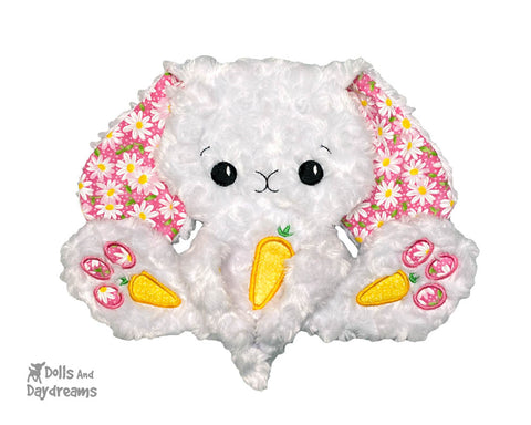 New In the Hoop BFF Bunny rabbit Baby blanket lovie plush soft toy ITH machine embroidery pattern by Dolls And Daydreams
