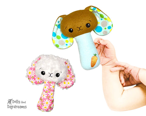 New In the Hoop BFF Bunny baby rattle toy ITH machine embroidery Easter pattern by Dolls And Daydreams