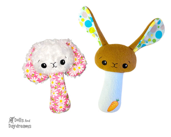 ITH Machine Embroidery BFF  Bunny Rabbit Rattle Pattern DIY Cute Plush Easter Baby cute kids soft stuffie Toy In The Hoop by Dolls And Daydreams