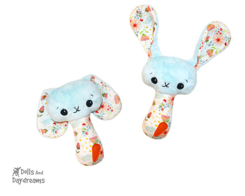New Big Footed BFF Bunny Rattle PDF Sewing pattern DIY Baby plush soft toy by Dolls And Daydreams