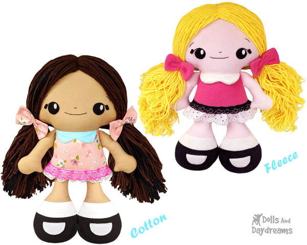 Big Foot Best Friends BFF Beauties Doll Sewing Pattern Kawaii Cute Yarn hair Girl  Cloth fleece cotton Dolly by Dolls And Daydreams