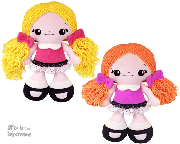 Big Foot Best Friends BFF Beauties Doll Sewing Pattern Kawaii Cute Yarn hair Girl  PDF Cloth Dolly by Dolls And Daydreams