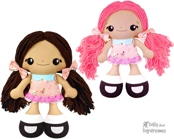 Big Foot Best Friends BFF Beauties Doll Sewing Pattern Kawaii Cute Yarn hair Girl  DIY Cloth Dolly by Dolls And Daydreams