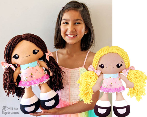 Big Foot Best Friends BFF Beauties Doll PDF Sewing Pattern Kawaii Cute Yarn hair Girl  Cloth Dolly by Dolls And Daydreams
