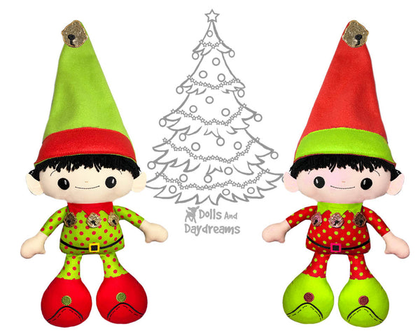 Big Foot Best Friends BFF Christmas Shelf Elf Doll In The Hoop Machine Embroidery Pattern Kawaii Cute Xmas Elves Yarn hair Cloth gnome plush by Dolls And Daydreams