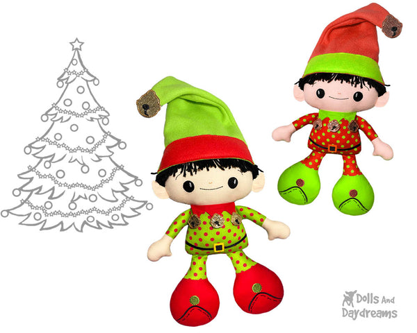 Big Foot Best Friends BFF Christmas Elf on the shelf Doll In The Hoop Machine Embroidery Pattern Kawaii Cute Xmas Elves fabric Cloth plush by Dolls And Daydreams