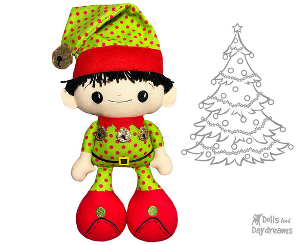 Big Foot Best Friends BFF Christmas Elf on the shelf Doll In The Hoop Machine Embroidery Pattern Kawaii Cute Xmas Elves Cloth plush by Dolls And Daydreams