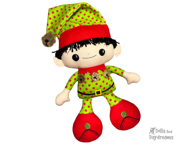Big Foot Best Friends BFF Christmas Elf on the shelf Doll In The Hoop Machine Embroidery Pattern Kawaii Cute Xmas Elves Yarn hair Cloth plush by Dolls And Daydreams