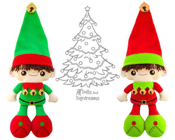 Big Foot Best Friends BFF Christmas Elf Doll Sewing Pattern Kawaii Cute Xmas Elves Yarn hair Cloth gnome plush by Dolls And Daydreams