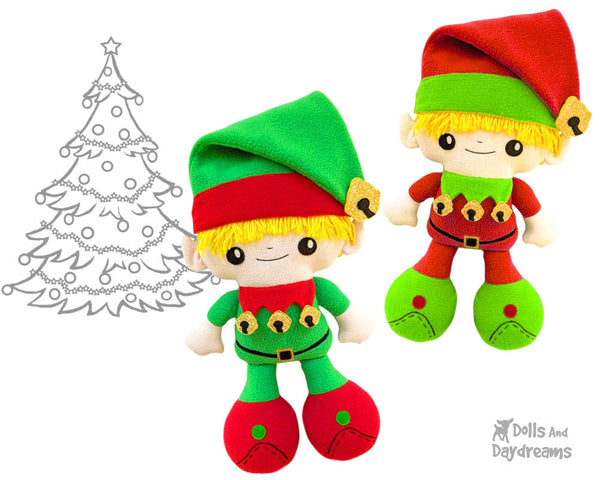 Big Foot Best Friends BFF Christmas Elf Doll Sewing Pattern on the shelf Kawaii Cute Xmas Elves fleece fabricplush by Dolls And Daydreams