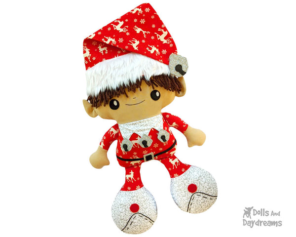Big Foot Best Friends BFF Christmas Elf Doll Sewing Pattern Kawaii Cute Xmas Elves Yarn hair Cloth plush by Dolls And Daydreams
