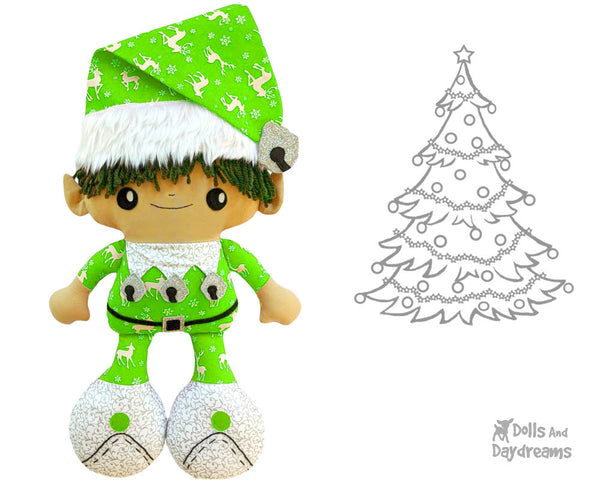 Big Foot Best Friends BFF Christmas Elf Doll Sewing Pattern Kawaii Cute Xmas Elves Cloth plush by Dolls And Daydreams