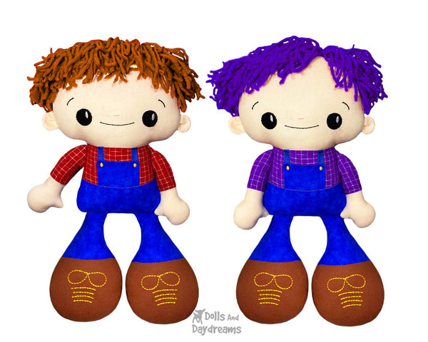 Big Footed Best Friends In The Hoop Machine Embroidery BFF Buddies Doll Pattern Kawaii Cute Cool hair Boy Toy DIY by Dolls And Daydreams
