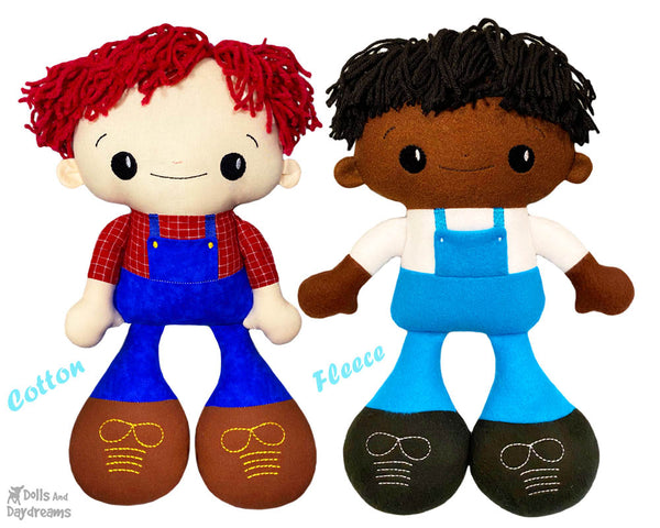 Big Footed Best Friends In The Hoop Machine Embroidery BFF Buddies Doll Pattern Kawaii Cute Yarn hair Boy Cloth by Dolls And Daydreams