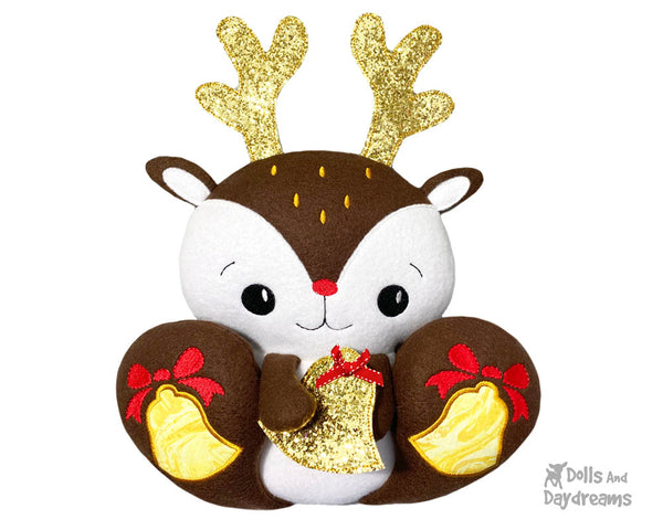 ITH Machine Embroidery BFF Big Footed Friends Reindeer Pattern DIY Christmas Deer Cute Plush Toy In The Hoop by Dolls And Daydreams