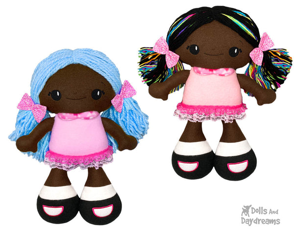 Big Foot Best Friends In The Hoop Machine Embroidery BFF Beauties Doll Pattern Kawaii Cute Yarn hair Girl  Cloth Black Ethnic Dolly by Dolls And Daydreams