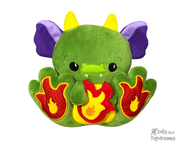 BFF Big Footed Friends In The Hoop Machine Embroidery Dragon Pattern DIY Kawaii Cute ITH Cute Plush Toy by Dolls And Daydreams