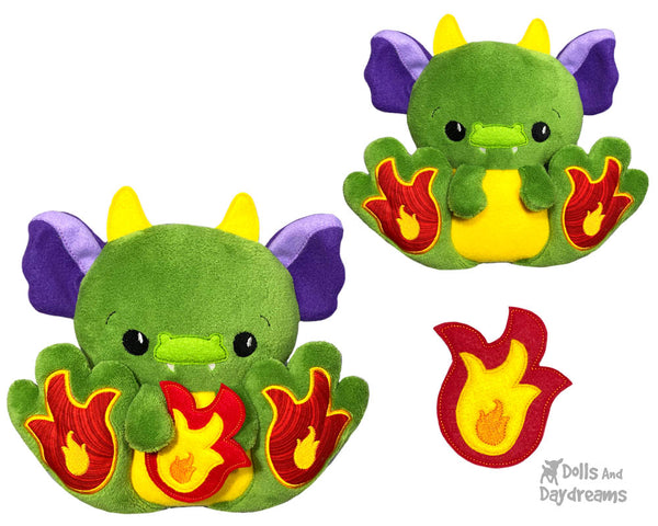 BFF Big Footed Friends In The Hoop Machine Embroidery Dragon Pattern DIY Kawaii Cute ITH Cute Softie Kids Plush Soft Toy by Dolls And Daydreams