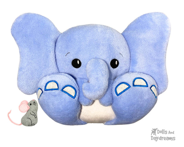 BFF Big Feet Friends In The Hoop Machine Embroidery Elephant DIY Kawaii Cute ITH Cute In the Hoop Plush Dumbo Ellie Toy by Dolls And Daydreams