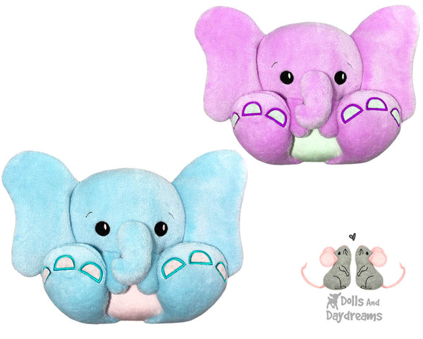 BFF Big Feet Friends In The Hoop Machine Embroidery Elephant DIY Kawaii Cute ITH Cute Plush Soft Toy Dumbo Stuffie by Dolls And Daydreams