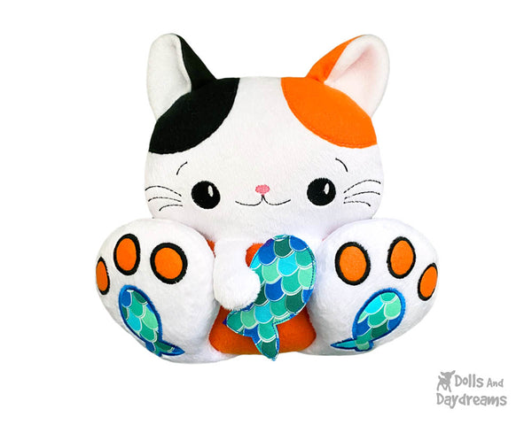 BFF Big Footed Friends In The Hoop Machine Embroidery Kitty Cat  DIY Kawaii Cute ITH Kitten Cute Plush Toy by Dolls And Daydreams