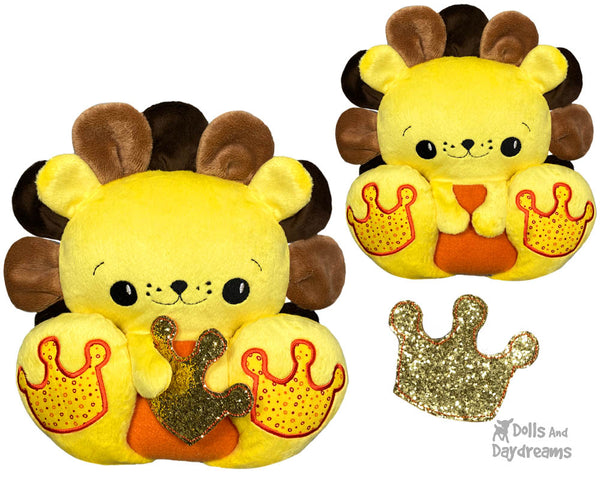 BFF Big Footed Friends In The Hoop Machine Embroidery Lion DIY Kawaii Cute ITH Cute Plush King of the Jungle Toy by Dolls And Daydreams
