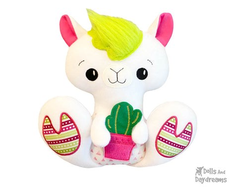 New In the Hoop BFF Llama plush toy ITH machine embroidery pattern by Dolls And Daydreams