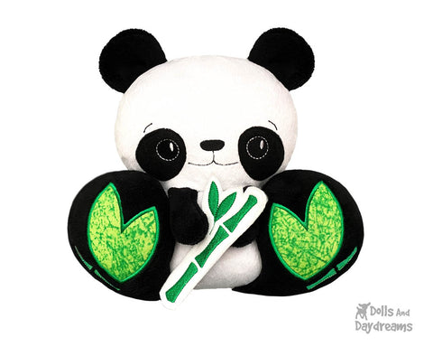 Panda Bear Plush Toy Machine Embroidery Pattern by Dolls And Daydreams