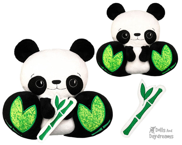 Machine Embroidery Panda Bear DIY Kawaii Cute ITH Cute Plush Teddy Toy by Dolls And Daydreams