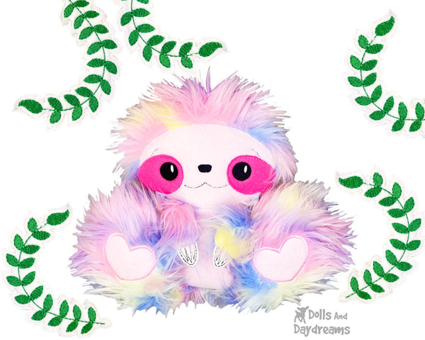 BFF Big Footed Friends Sloth PDF Sewing Pattern DIY Kawaii Cute Plushie fuzzy fluffy rainbow Toy Softie by Dolls And Daydreams