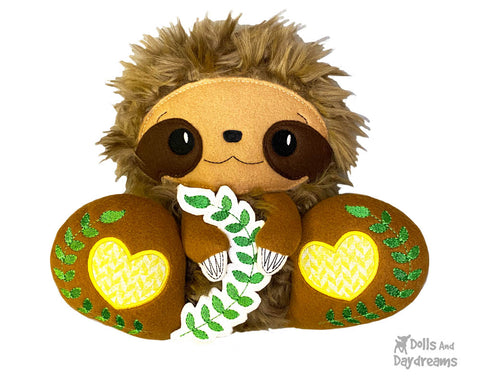 New In the Hoop BFF Sloth plush toy ITH machine embroidery pattern by Dolls And Daydreams