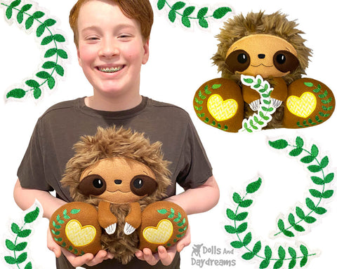 New In the Hoop BFF Sloth plush toy ITH machine embroidery pattern In The Hoop by Dolls And Daydreams