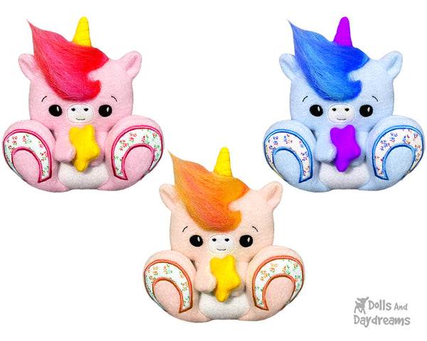 Machine Embroidery BFF Big Footed Friends Unicorn Pattern DIY Cute kawaii Plush Toy In The Hoop by Dolls And Daydreams