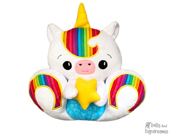 ITH Machine Embroidery BFF Big Footed Friends Unicorn Pattern DIY Cute kawaii Plush Toy In The Hoop by Dolls And Daydreams