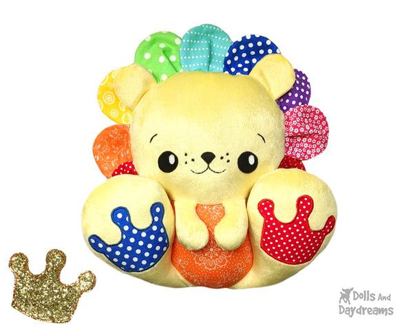 BFF Big Footed Friends Lion PDF Sewing pattern DIY Kawaii Cute Cute Plush Teddy Rainbow Mane Toy by Dolls And Daydreams