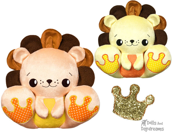 BFF Big Footed Friends Lion King PDF Sewing pattern DIY Kawaii Cute Cute Plush Teddy Toy by Dolls And Daydreams
