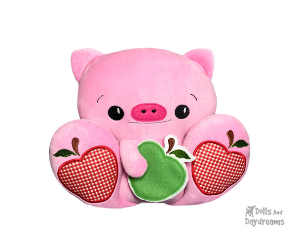 BFF Big Footed Friends Piggy In The Hoop Machine Embroidery Pig DIY Kawaii Cute ITH Cute Plush Toy by Dolls And Daydreams