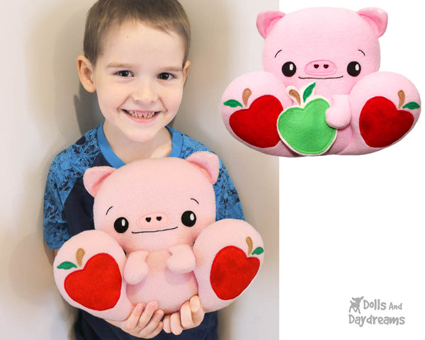 Big Foot Friend Piggy Pig PDF Softie Sewing Pattern DIY Kawaii Cute Plush Toy by Dolls And Daydreams
