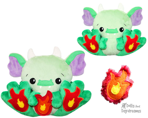 BFF Big Footed Friend Dragon Sewing Pattern DIY Kawaii Cute ITH Cute Kids Plush Softie Toy by Dolls And Daydreams