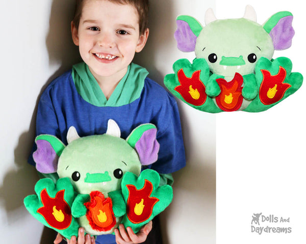 BFF Big Footed Friend Dragon Sewing Pattern DIY Kawaii Cute ITH Cute Kids Plush Childrens Toy by Dolls And Daydreams