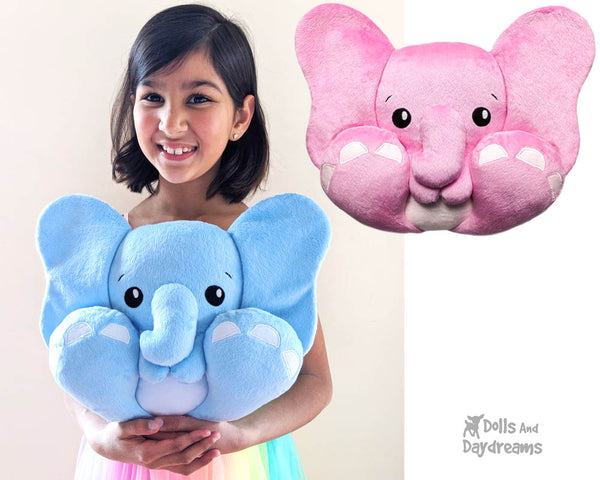 BFF Big Foot Friends Elephant PDF Sewing pattern DIY Kawaii Cute Soft Toy Dumbo Ellie Plush by Dolls And Daydreams