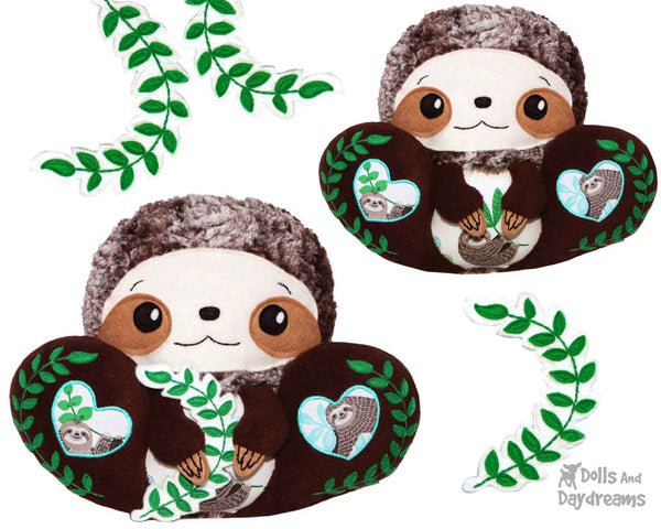 BFF Big Footed Friends Sloth PDF Sewing Pattern DIY Kawaii Cute Plush fluffy soft Toy Softie by Dolls And Daydreams