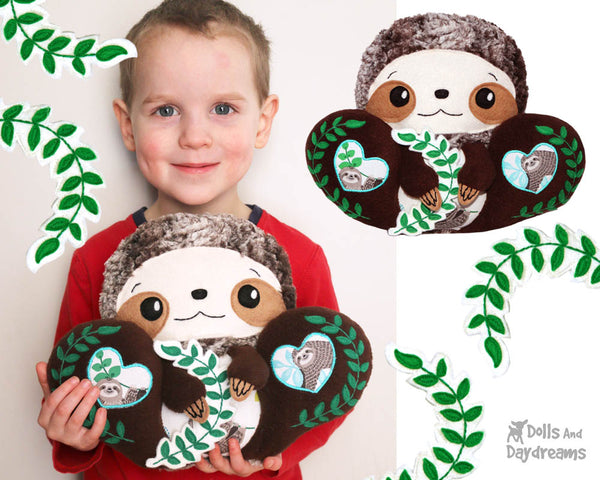 BFF Big Footed Friends Sloth PDF Sewing Pattern DIY Kawaii Cute Plush kids Toy Softie by Dolls And Daydreams