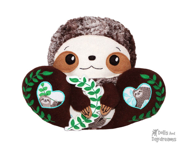 BFF Big Footed Friends Sloth PDF Sewing Pattern DIY Kawaii Cute Plush Toy Softie by Dolls And Daydreams