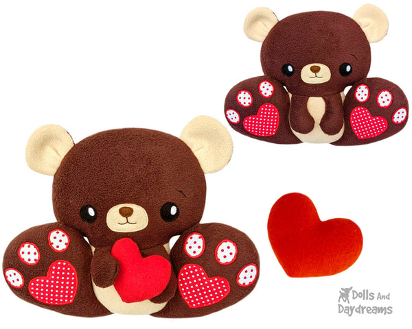 BFF Big Footed Friend Teddy Bear Sewing Pattern DIY Kawaii Cute ITH Cute PDF Plush Toy by Dolls And Daydreams