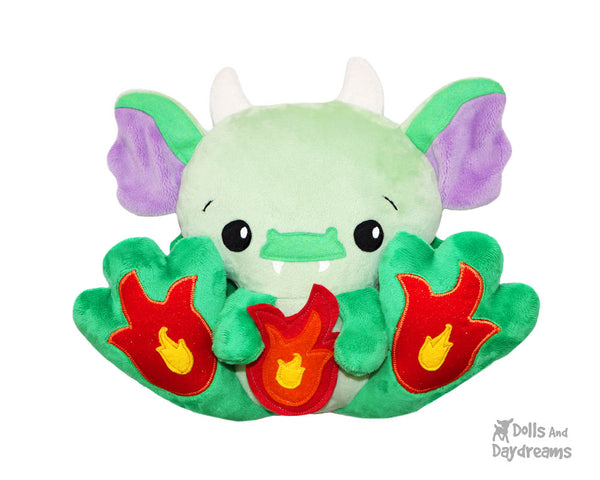 BFF Big Footed Friend Dragon Sewing Pattern DIY Kawaii Cute ITH Cute Plush Toy by Dolls And Daydreams