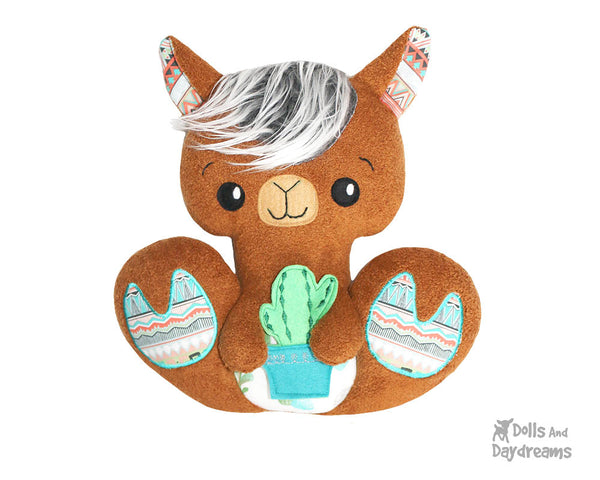 BFF Big Footed Friends Llama PDF Sewing Pattern  boho DIY Kawaii Cute Plush Alpaca Toy by Dolls And Daydreams
