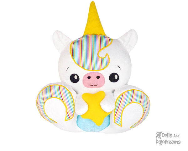 BFF Big Footed Friends Unicorn Sewing Pattern DIY Kawaii Cute Plush Toy PDF by Dolls And Daydreams